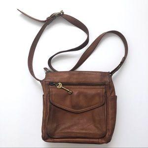 Fossil Vintage Cognac Crossbody Leather Bag Purse